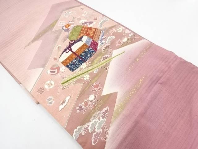 切りばめ手織り真綿紬手箱・印籠・扇模様刺繍袋帯【リサイクル】【中古】【着】 宗sou