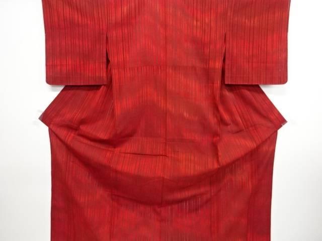 未使用品 仕立て上がり 紗縞模様織り出し着物【着】 宗sou