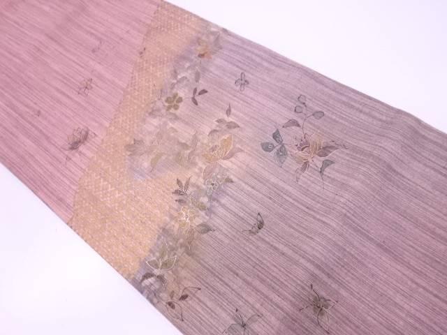 金彩手織り紬手描き草花模様袋帯【リサイクル】【中古】【着】 宗sou