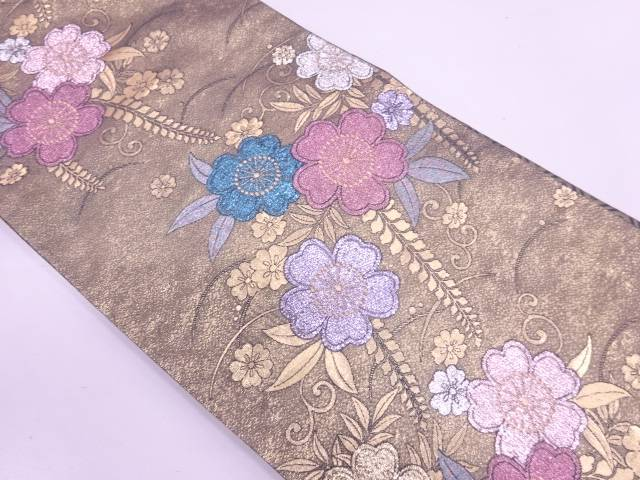 桜模様織出し振袖袋帯【リサイクル】【中古】【着】 宗sou