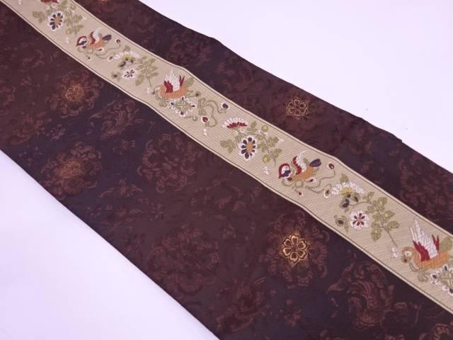 未使用品 縞に花鳥模様織出し袋帯【リサイクル】【着】 宗sou