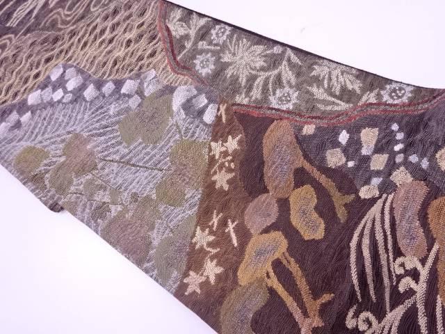 すくい織波に松・色紙散らし模様織出し袋帯【リサイクル】【中古】【着】 宗sou