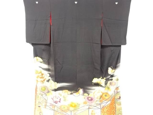 錦紗牡丹に蝶模様刺繍五つ紋引き摺り【アンティーク】【中古】【着】 宗sou
