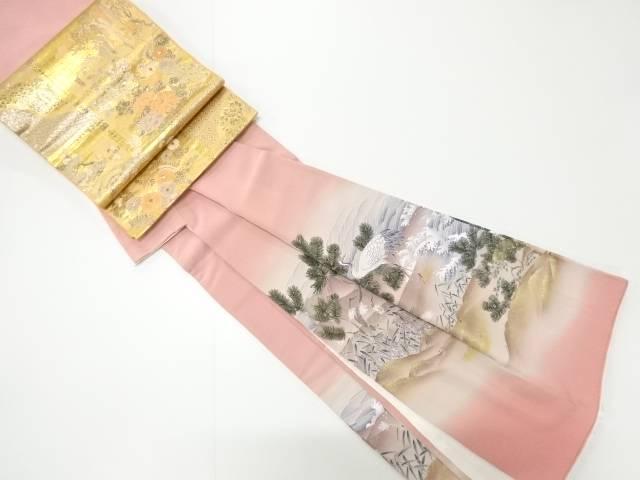 荒波に松・鶴模様一つ紋色留袖(比翼付き) 袋帯セット【リサイクル】【中古】【着】 宗sou