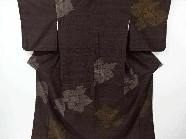 泥染花模様織り出し手織り紬着物【リサイクル】【中古】【着】 宗sou