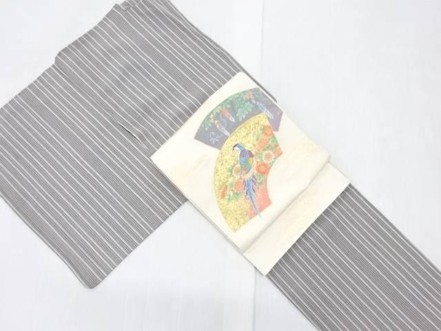 茶道具 茶道 着物 ランキング総合1位 縞模様小紋着物 新作 袋帯セット リサイクル 着 宗sou 中古