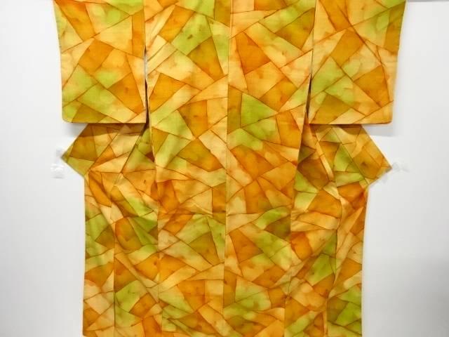 石畳模様手織り真綿紬着物【リサイクル】【中古】【着】 宗sou