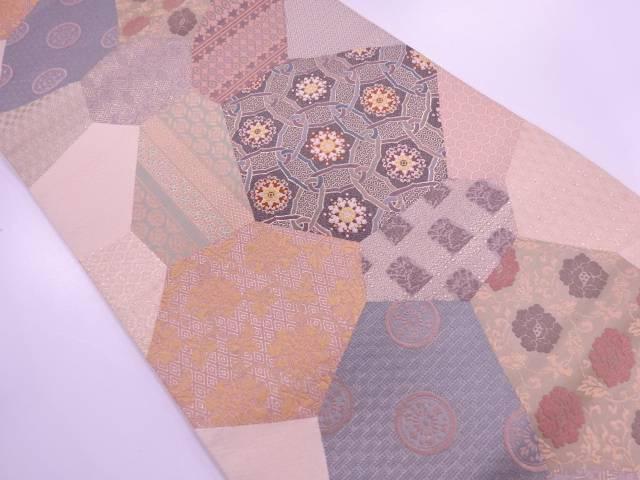 切り嵌め風に草花模様織出し袋帯【リサイクル】【中古】【着】 宗sou