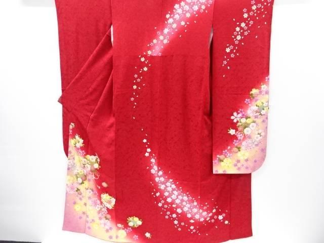 桜に花丸模様振袖・長襦袢・袋帯セット【リサイクル】【中古】【着】 宗sou