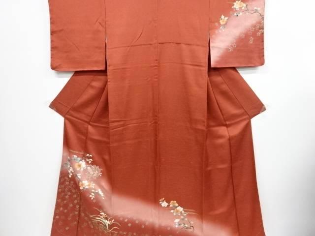 未使用品 仕立て上がり 金彩枝花に花車模様刺繍訪問着【着】 宗sou