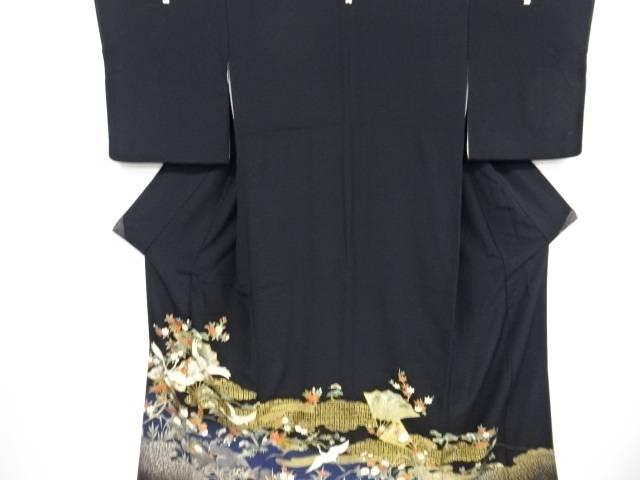 金彩群鶴に菊桜荒波模様留袖(比翼付き)【リサイクル】【中古】【着】 宗sou