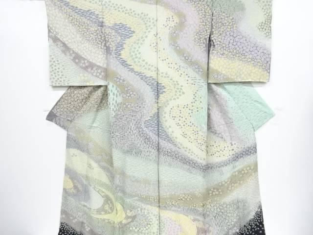 辻ヶ花相良刺繍流水に桜・樹木模様訪問着仮絵羽(八掛付き)【新品】【着】 宗sou
