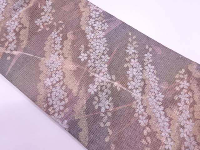 未使用品  紗 桜模様織出し暈し袋帯【リサイクル】【着】 宗sou