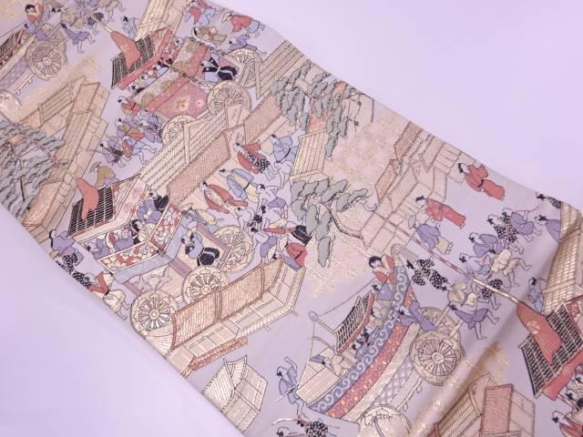 山鉾に時代人物模様織出し袋帯【リサイクル】【中古】【着】 宗sou