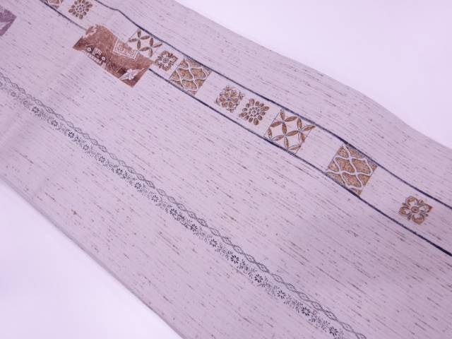 手織紬縞に古典柄模様全通袋帯【リサイクル】【中古】【着】 宗sou