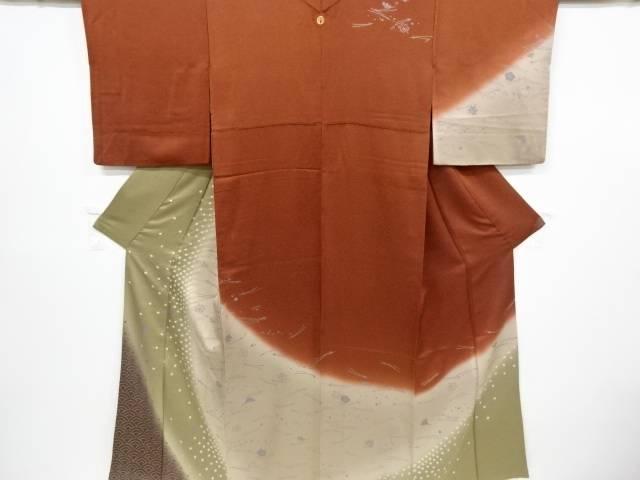 絞り松葉に梅・紅葉模様暈し一つ紋訪問着(重ね衿付き)【リサイクル】【中古】【着】 宗sou