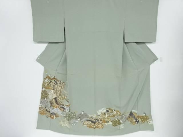 未使用品 仕立て上がり 蘇州刺繍時代人物十二単模様三つ紋色留袖【着】 宗sou