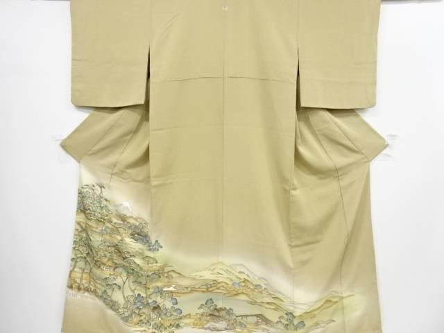 富士に田舎風景模様一つ紋色留袖(比翼付き)【リサイクル】【中古】【着】 宗sou