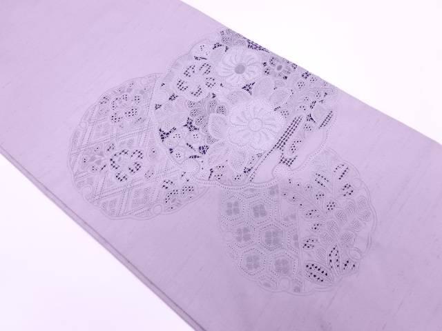 相良汕頭刺繍雪輪に草花模様紬袋帯【リサイクル】【中古】【着】 宗sou