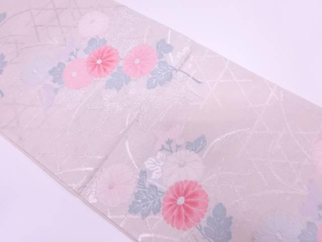 未使用品 野渕織物製 絽紗草花に籠目模様織出し袋帯(未仕立て)【リサイクル】【着】 宗sou