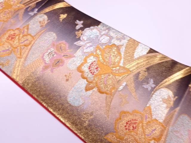 モール草花に蝶模様織出し振袖袋帯【リサイクル】【中古】【着】 宗sou