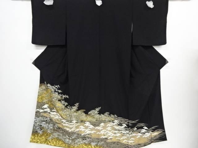 未使用品 金彩手描き友禅波に松模様刺繍留袖(比翼付き)【リサイクル】【着】 宗sou