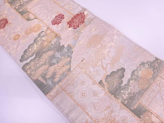 九百佐賀錦松に牡丹・秋草模様織出し袋帯【リサイクル】【中古】【着】 宗sou