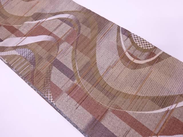 未使用品 抽象模様織出し全通袋帯【リサイクル】【着】 宗sou