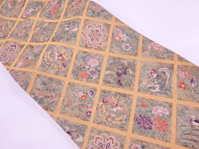 茶道具 茶道 着物 襷に花鳥模様織出し袋帯 宗sou 着 リサイクル 記念日 中古 人気の定番