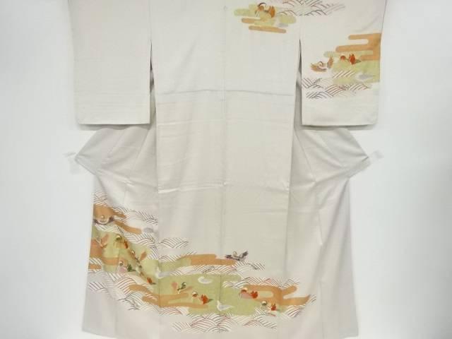 金彩ヱ霞に鴛鴦模様刺繍一つ紋訪問着【リサイクル】【中古】【着】 宗sou