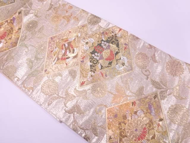 菱に向かい鳥・桐模様織出し袋帯【リサイクル】【中古】【着】 宗sou