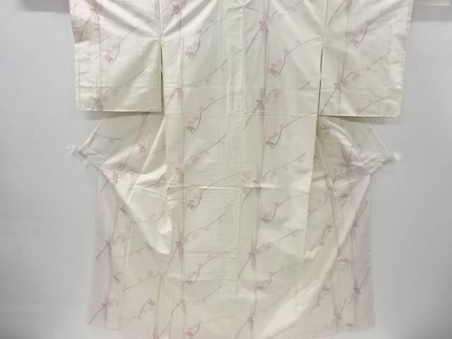 未使用品 変わり縞に枝花模様織り出し手織り節紬着物【リサイクル】【着】 宗sou