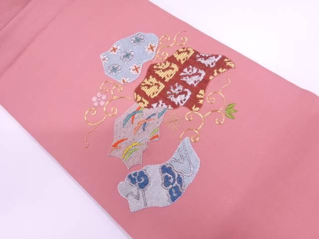 絽刺し抽象動物に花唐草模様名古屋帯【リサイクル】【中古】【着】 宗sou