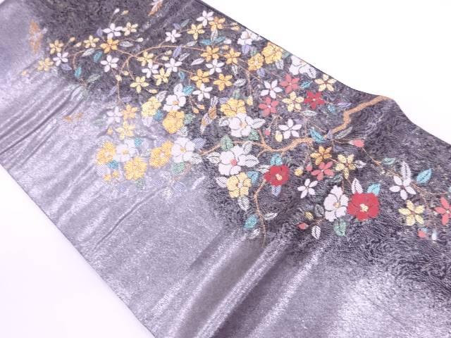青銅箔繻珍織花鳥模様織出し袋帯【リサイクル】【中古】【着】 宗sou