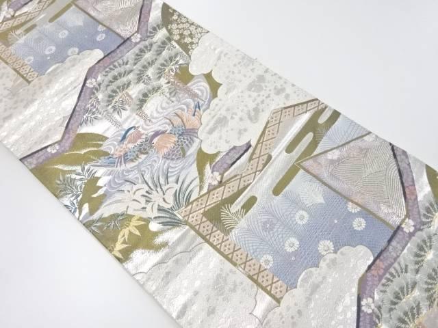 プラチナ箔屏風に鴛鴦模様織り出し袋帯【リサイクル】【中古】【着】 宗sou