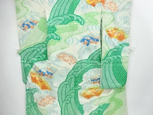絞り荒波に菊梅模様刺繍振袖【リサイクル】【中古】【着】 宗sou