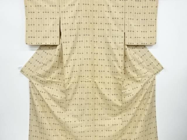 縞に抽象模様手織り紬着物【リサイクル】【中古】【着】 宗sou