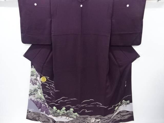 熊谷慶雲作 満月に雲松荒波模様三つ紋色留袖(比翼付き)【リサイクル】【中古】【着】 宗sou