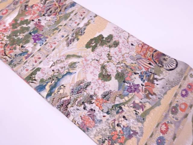 壱阡八百織吉野の桜模様織出し袋帯【リサイクル】【中古】【着】 宗sou