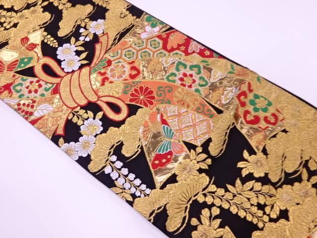 束ね熨斗に草花模様織出し袋帯【リサイクル】【中古】【着】 宗sou