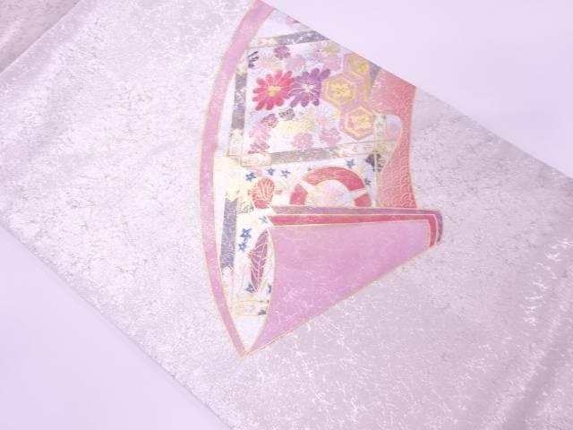 金彩鼓に花・青海波模様名古屋帯【リサイクル】【中古】【着】 宗sou