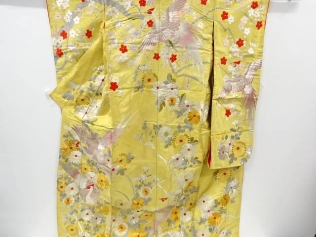 菊に雉模様刺繍花嫁衣装色打掛【リサイクル】【中古】【着】 宗sou