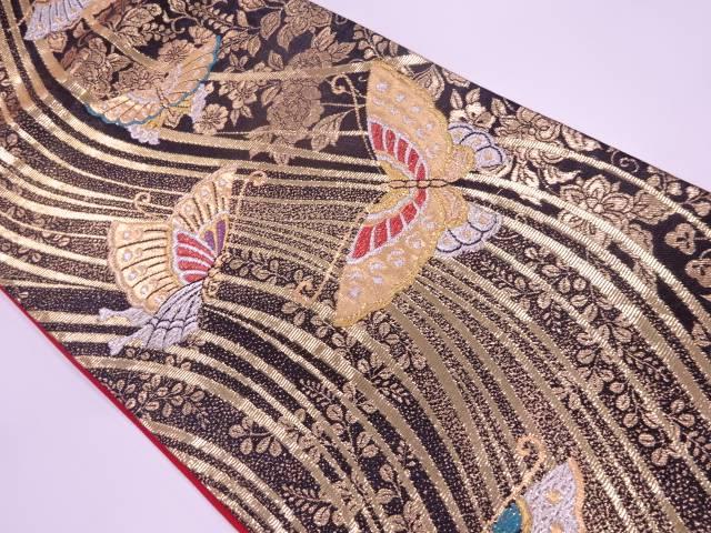 蝶に草花模様織出し振袖用袋帯【リサイクル】【中古】【着】 宗sou