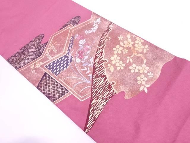 金彩草花に七宝模様刺繍袋帯【リサイクル】【中古】【着】 宗sou