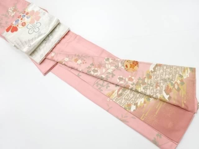 金彩友禅地紙に花丸文様一つ紋訪問着 袋帯セット【リサイクル】【中古】【着】 宗sou
