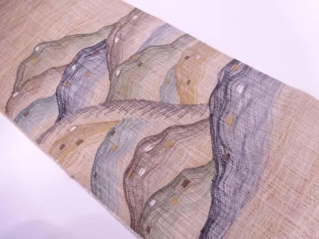 すくい織山並模様織出しリバーシブル袋帯【リサイクル】【中古】【着】 宗sou