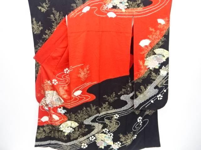 金彩絞り扇に牡丹・菊・橘模様刺繍振袖【リサイクル】【中古】【着】 宗sou