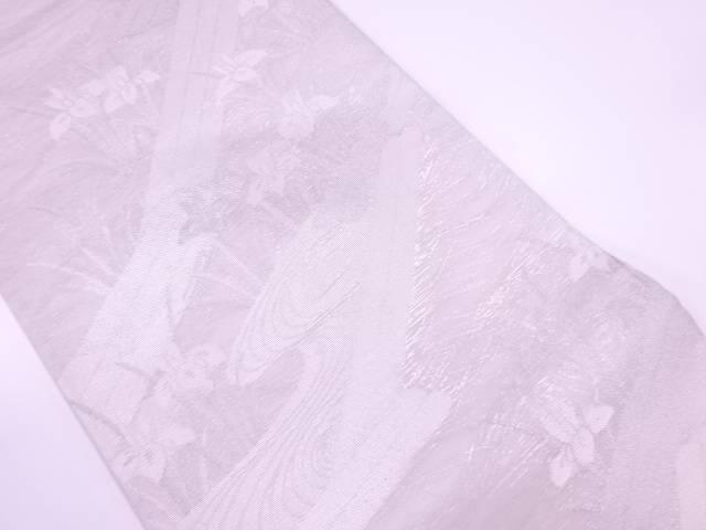 未使用品  紗 八ツ橋にカキツバタ模様織出し袋帯【リサイクル】【着】 宗sou