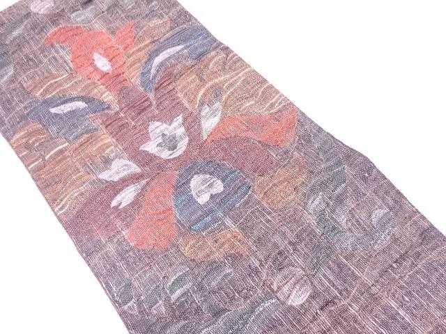 モール草花模様織出し袋帯【リサイクル】【中古】【着】 宗sou
