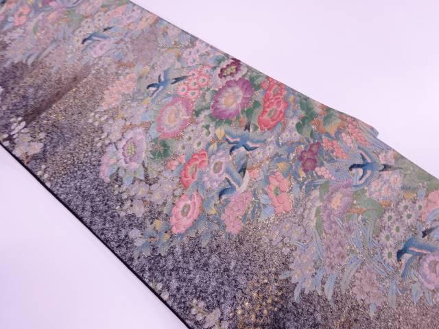 花鳥模様織出し袋帯【リサイクル】【中古】【着】 宗sou
